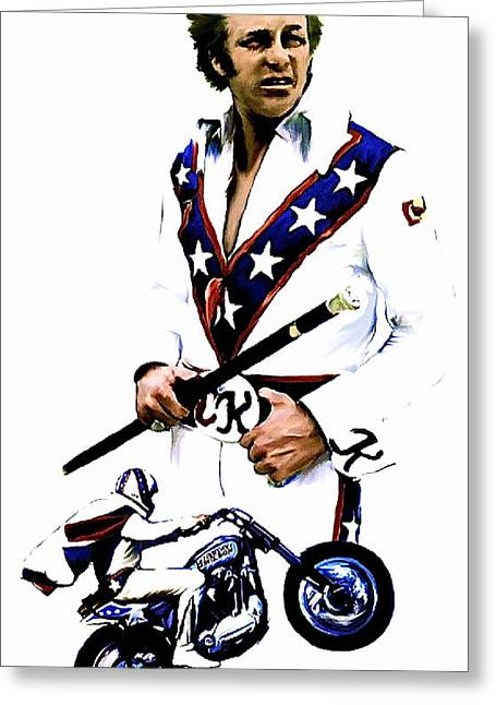 Work Drawings Greeting Cards - American Roulette  Evel Knievel Greeting Card by Iconic Images Art Gallery David Pucciarelli