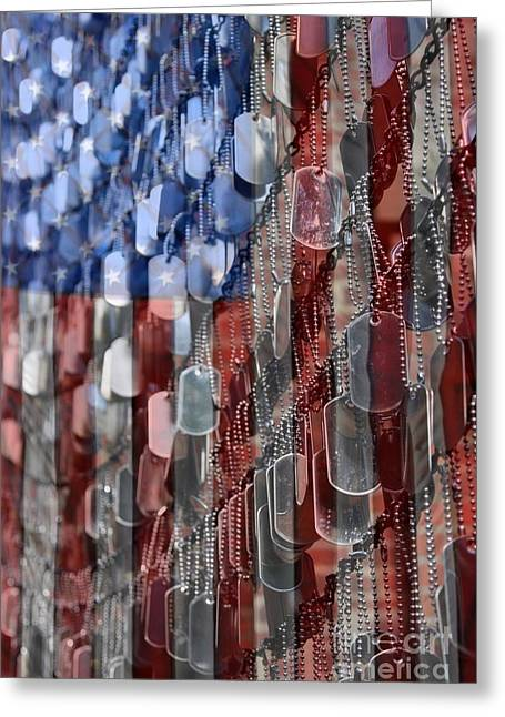 Flags Greeting Cards - American Sacrifice Greeting Card by DJ Florek