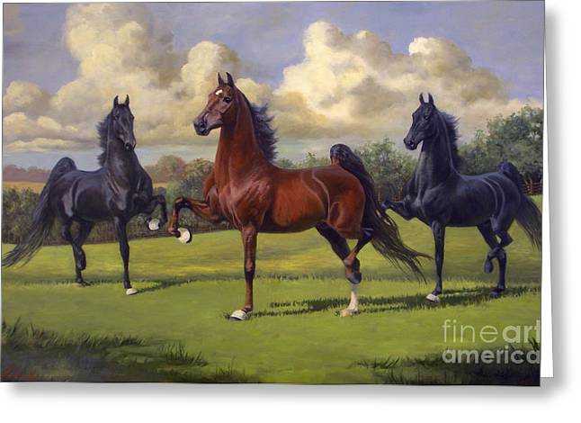 Jeanne Newton Schoborg Greeting Cards - American Saddlebred Stallions Greeting Card by Jeanne Newton Schoborg