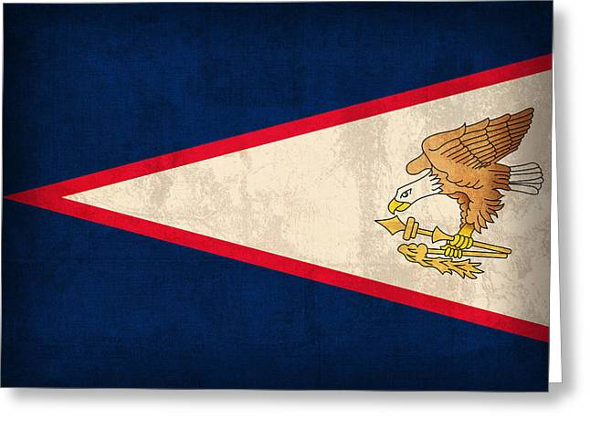 American Grunge Greeting Cards - American Samoa Flag Vintage Distressed Finish Greeting Card by Design Turnpike