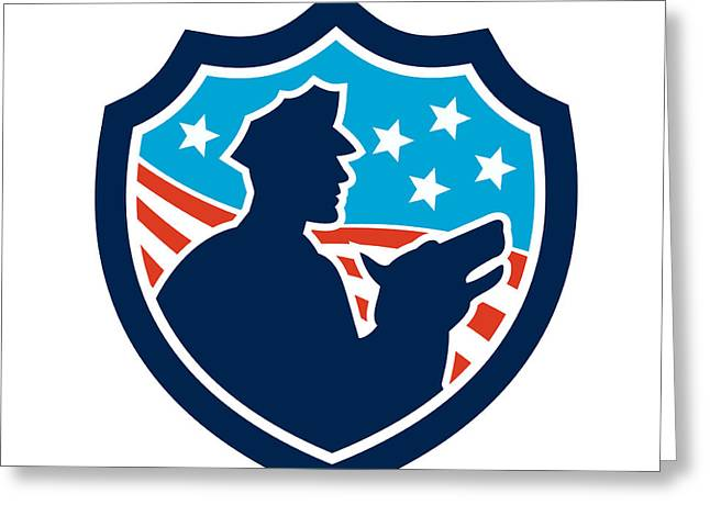 Guard Dog Greeting Cards - American Security Guard With Police Dog Shield Greeting Card by Aloysius Patrimonio