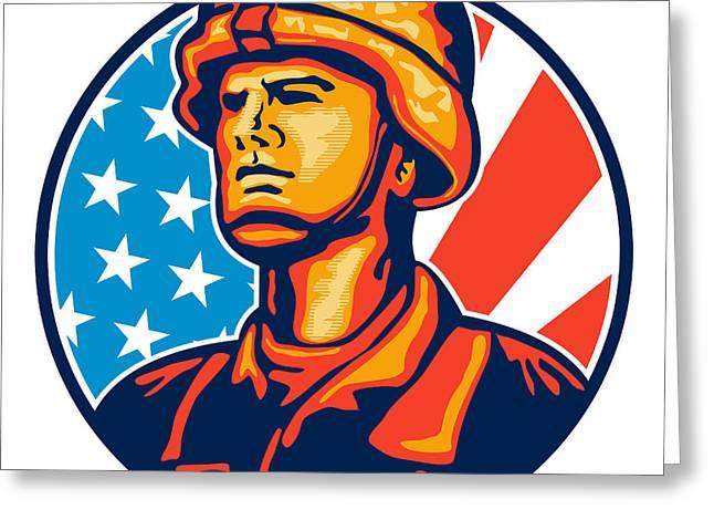 Serviceman Greeting Cards - American Serviceman Soldier Flag Retro Greeting Card by Aloysius Patrimonio