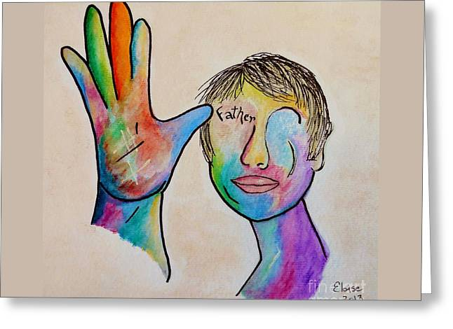 Asl Greeting Cards - American Sign Language  Father Greeting Card by Eloise Schneider