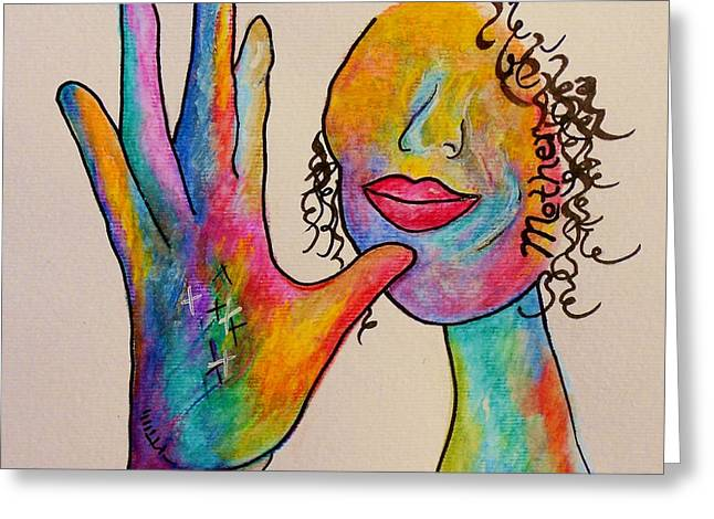 Purple Abstract Greeting Cards - American Sign Language . . .  MOTHER Greeting Card by Eloise Schneider