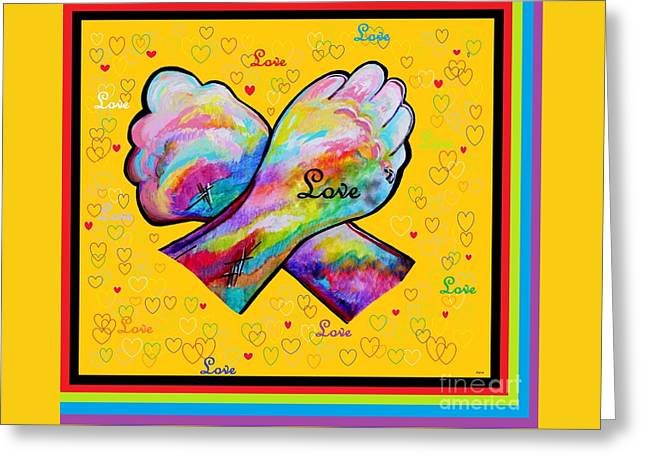 Asl Greeting Cards - American Sign Language LOVE Greeting Card by Eloise Schneider