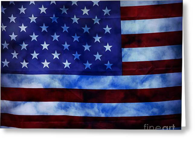 Flag Of Usa Greeting Cards - American Sky Greeting Card by John Stephens