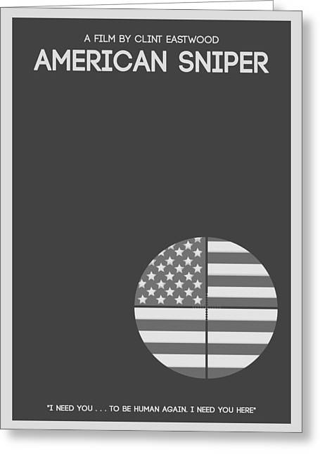 Reserve Mixed Media Greeting Cards - American Sniper Minimalist Movie Poster Greeting Card by Celestial Images