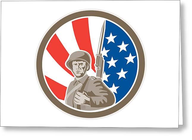 Bayonet Digital Art Greeting Cards - American Soldier Serviceman Bayonet Circle Retro Greeting Card by Aloysius Patrimonio
