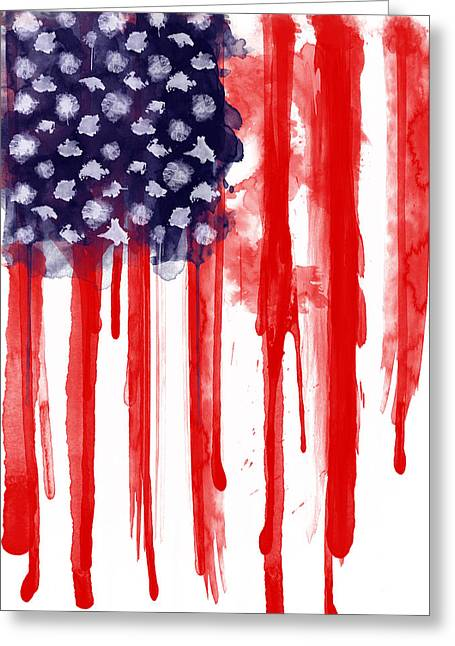 Spatter Greeting Cards - American Spatter Flag Greeting Card by Nicklas Gustafsson