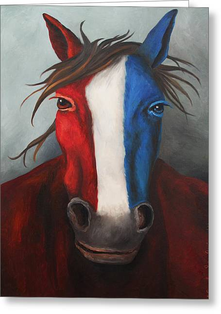 Independence Day Paintings Greeting Cards - American Spirit Greeting Card by Leah Saulnier The Painting Maniac