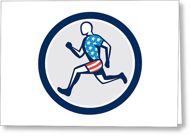 American Sprinter Runner Running Side View Retro Greeting Card by Aloysius Patrimonio