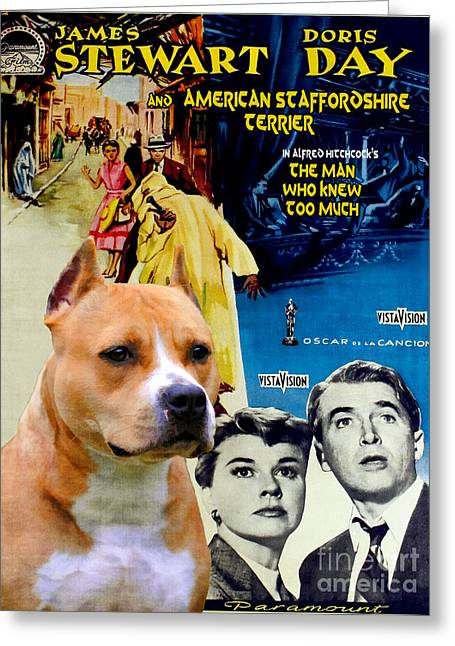 Man Who Knew Too Much Greeting Cards - American Staffordshire Terrier Art Canvas Print - The Man Who Knew Too Much  Movie Poster Greeting Card by Sandra Sij
