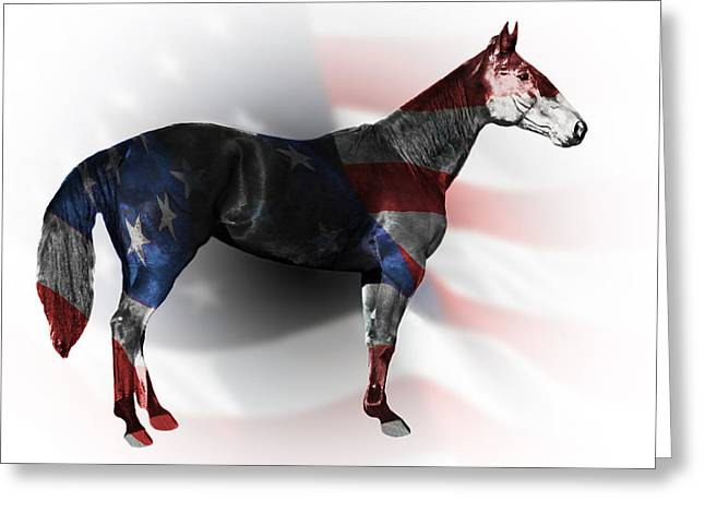 Bred Mixed Media Greeting Cards - American Standardbred Greeting Card by Davandra Cribbie