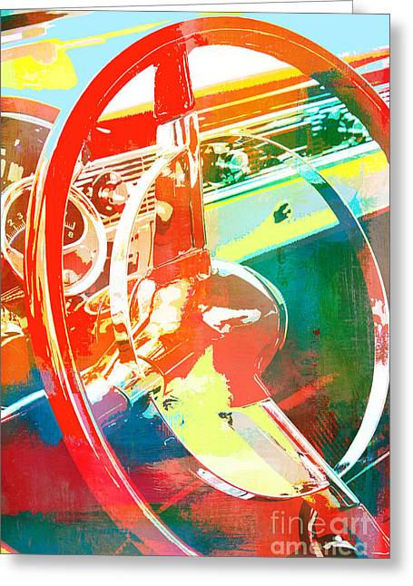 Driving Mixed Media Greeting Cards - American Steel Steering Wheel Pop Art Greeting Card by AdSpice Studios