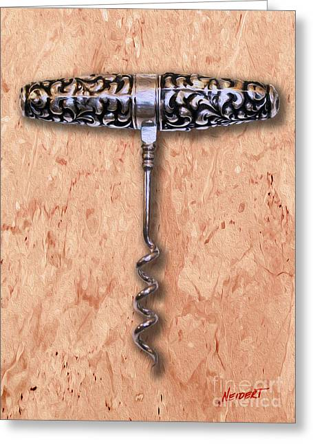 Cabernet Sauvignon Mixed Media Greeting Cards - American Sterling Roundlet  Corkscrew 1890 Painting Greeting Card by Jon Neidert