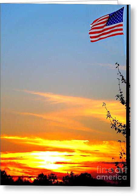 Proudly Waving Greeting Cards - American Sunset Greeting Card by Renee Trenholm