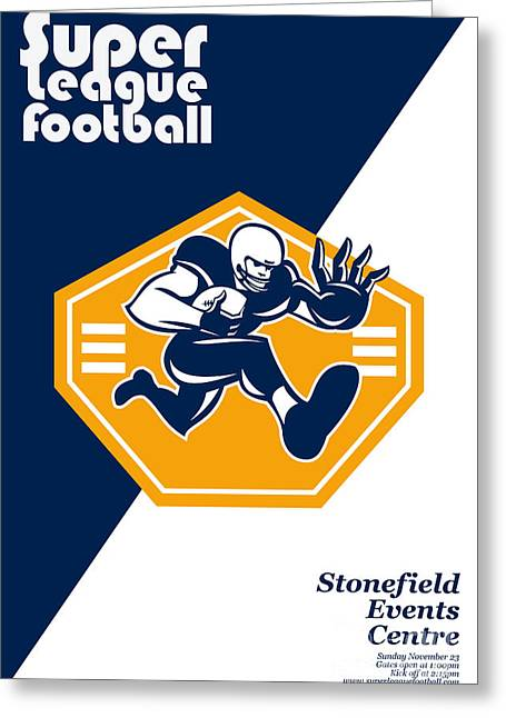 Tailback Greeting Cards - American Super League Football Poster Retro Greeting Card by Aloysius Patrimonio