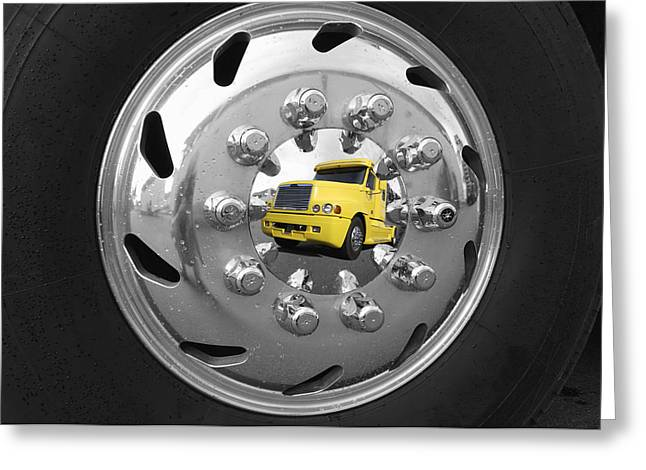 Hubcap Greeting Cards - American Super Truck Mirrored In A Shiny Hubcap Greeting Card by Christian Lagereek