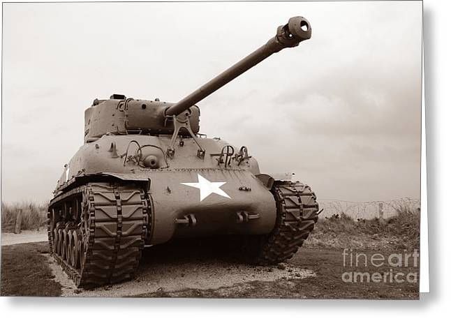 D Greeting Cards - American Tank Greeting Card by Olivier Le Queinec