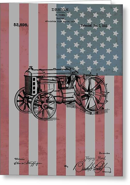 Henry Mixed Media Greeting Cards - American Tractor Greeting Card by Dan Sproul