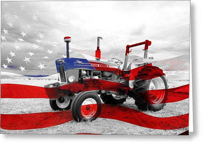 Grampa Greeting Cards - American Tractor Greeting Card by Steve McKinzie