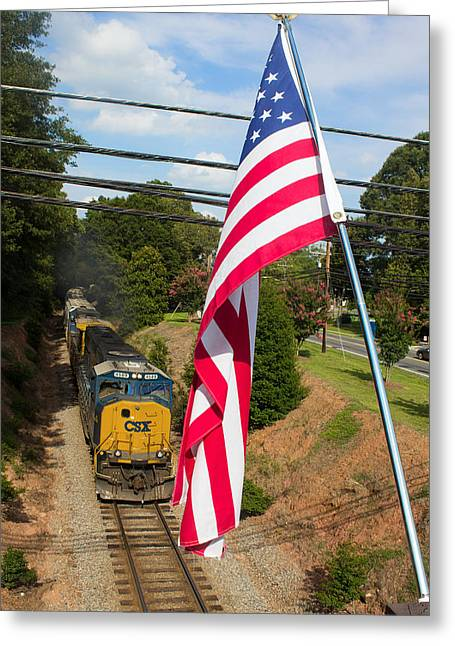 Train On Bridge Greeting Cards - American Train 2 Greeting Card by Joseph C Hinson Photography