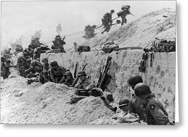 American Troops At Utah Beach Greeting Card by Underwood Archives