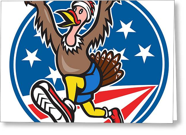 American Turkey Run Runner Cartoon Greeting Card by Aloysius Patrimonio
