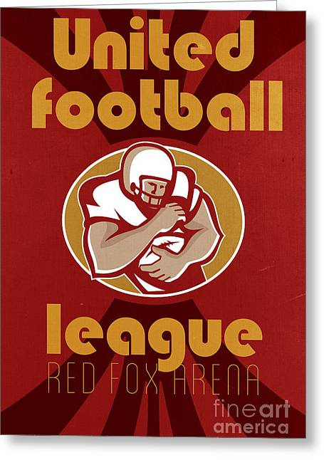Tailback Greeting Cards - American United Football League Poster Retro Greeting Card by Aloysius Patrimonio