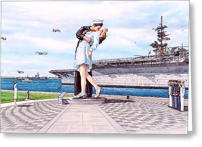 U.s. Coast Guard Greeting Cards - American Victory Monument Greeting Card by John Yato