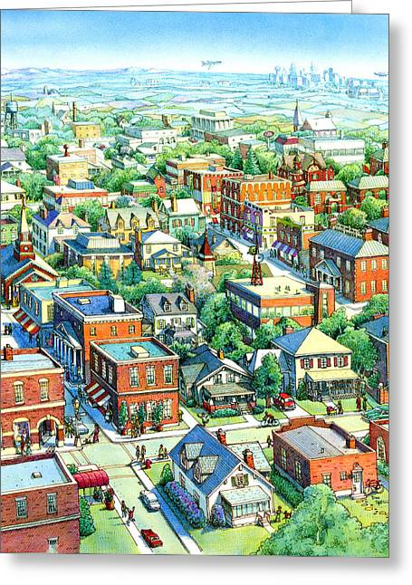 All American Drawings Greeting Cards - American Village Greeting Card by Dan Nelson