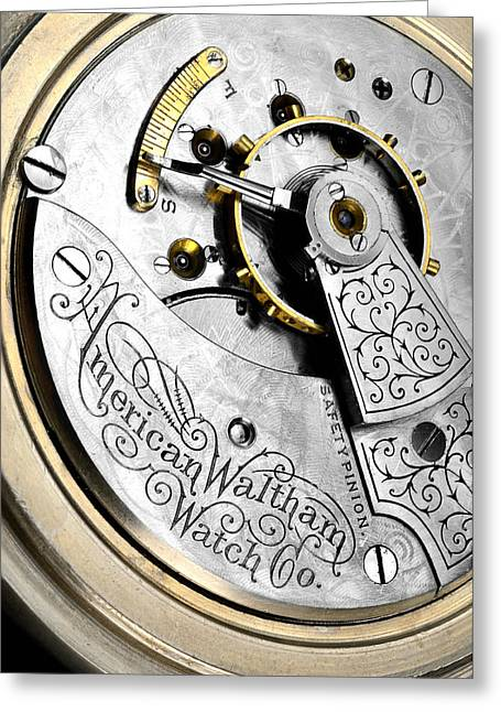 Watchmaker Greeting Cards - Antique pocket watch Greeting Card by Jim Hughes