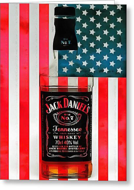 Moonshine Mixed Media Greeting Cards - American Whiskey Jack Daniels Greeting Card by Dan Sproul