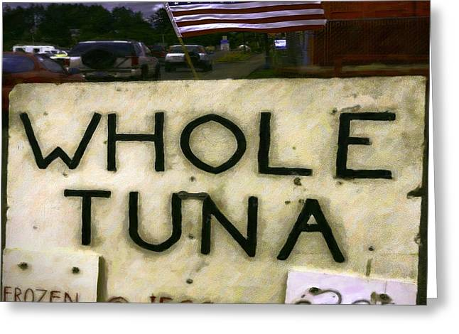 Label Greeting Cards - American Whole Tuna Greeting Card by Jean OKeeffe Macro Abundance Art
