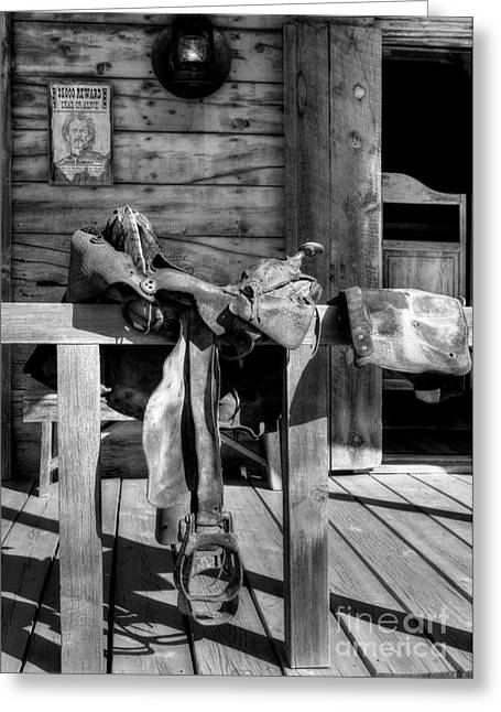 White Horses Photographs Posters Greeting Cards - American Wild West BW Greeting Card by Mel Steinhauer