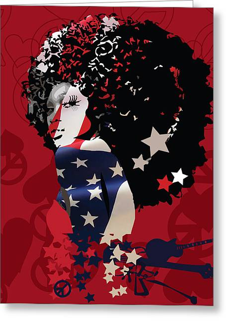 Flashy Greeting Cards - American Women Greeting Card by Voodo Fe