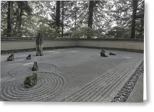 Shogun Photographs Greeting Cards - AMERICAN ZEN ROCK and RAKED GRAVEL GARDEN - PORTLAND OREGON Greeting Card by Daniel Hagerman