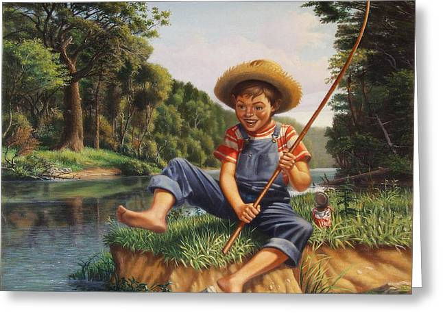 Tennessee River Greeting Cards - Americana - Country Boy Fishing In River Landscape - Square Format Image Greeting Card by Walt Curlee