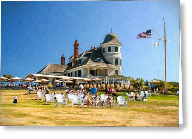 Lawn Chair Greeting Cards - Americana at the Castle Hill Inn Greeting Card by Vicki Jauron