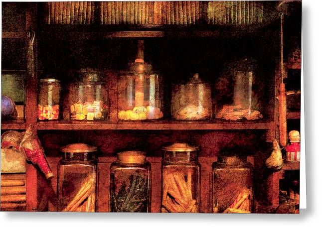 Candy Jar Greeting Cards - Americana - Candy Greeting Card by Mike Savad