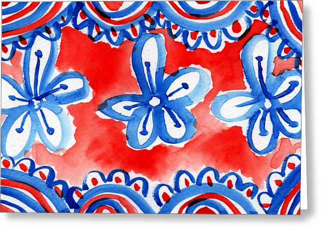 Bold Color Greeting Cards - Americana Celebration 2 Greeting Card by Linda Woods