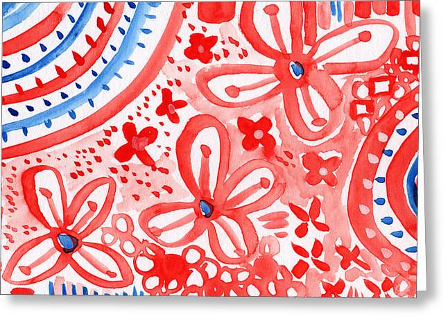 Red Flowers Greeting Cards - Americana Celebration- painting Greeting Card by Linda Woods
