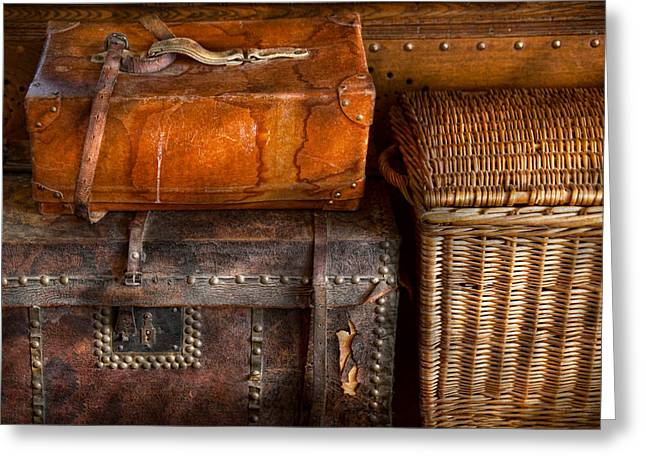 Straps Greeting Cards - Americana - Emotional baggage  Greeting Card by Mike Savad