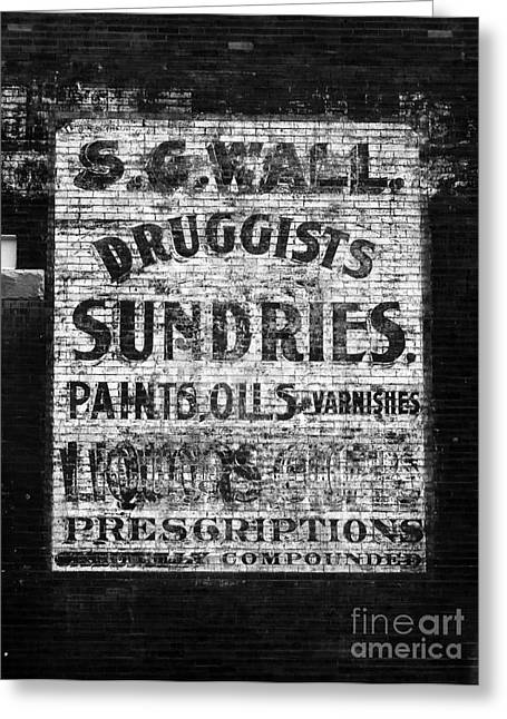 Dime Store Greeting Cards - Americana Faded Old Brick Wall Drug Store Sign Black and White Greeting Card by Shawn O