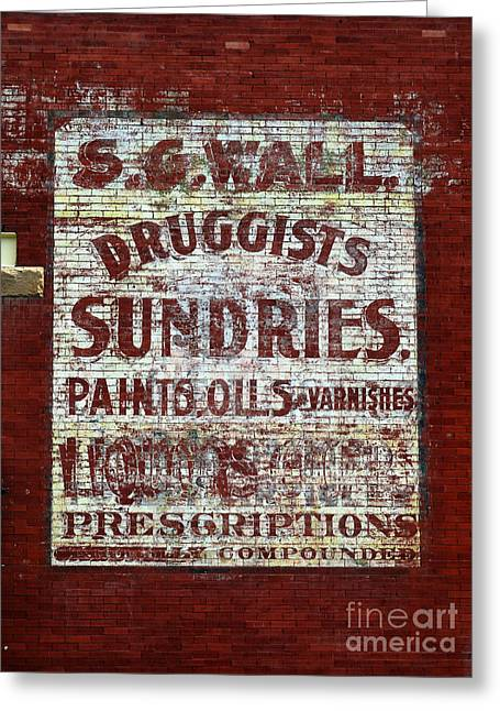 Dime Store Greeting Cards - Americana Faded Old Brick Wall Drug Store Sign Greeting Card by Shawn O