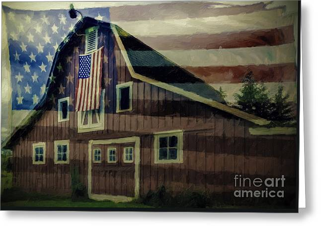 Barn Door Greeting Cards - Americana Glory Greeting Card by Jean OKeeffe Macro Abundance Art