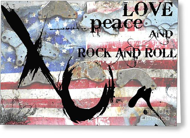 Juvenile Wall Decor Greeting Cards - Americana Love Peace and Rock and Roll Greeting Card by Anahi DeCanio