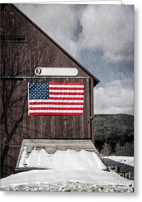 American Conservative Party Greeting Cards - Americana Patriotic Barn Greeting Card by Edward Fielding