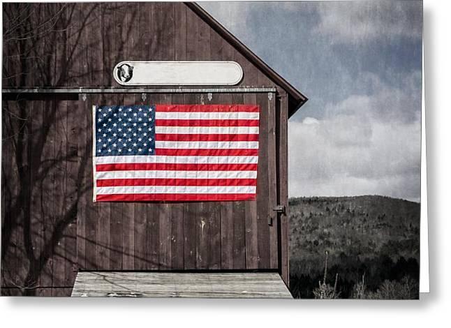 Americana Patriotic Barn Greeting Card by Edward Fielding