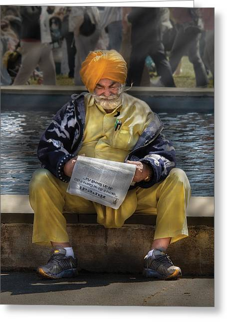 Ethnic Diversity Greeting Cards - Americana - People - Casually reading a newspaper Greeting Card by Mike Savad